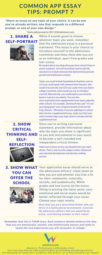 """College Admissions Essay Advice: how to answer the common app """"topic of your choice"""" essay, prompt #7"""