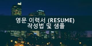 영문 이력서 (Resume)작성법 및 샘플