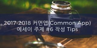2017-2018 커먼앱 (Common App) 에세이 주제 #6 작성 Tips