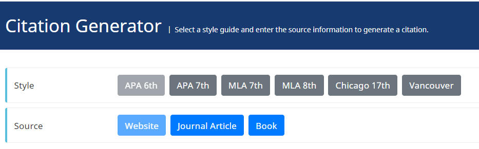 wordvice citation generator with APA, MLA, Chicago, and Vancouver styles