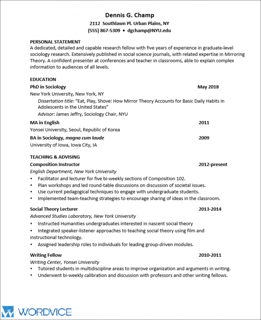 Sample Graduate CV for Academic