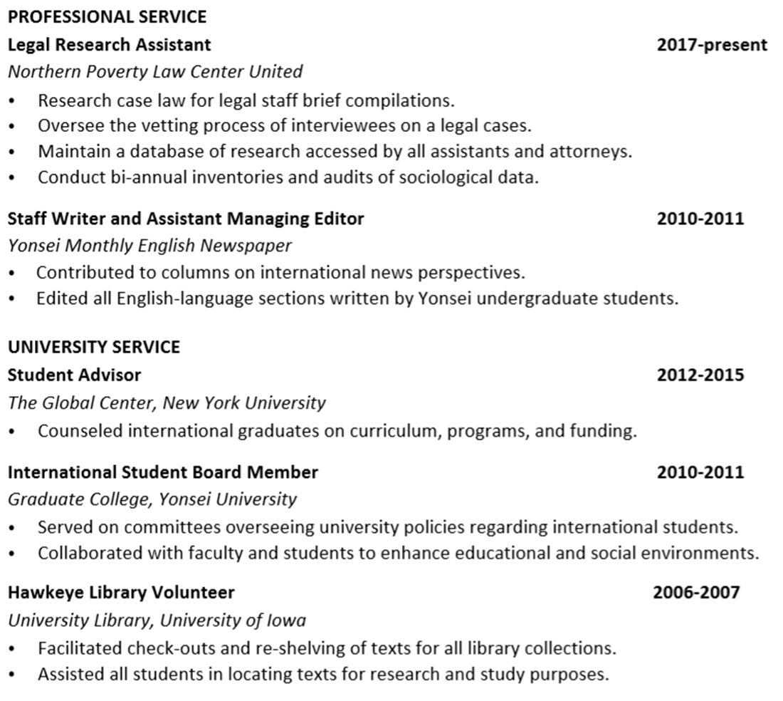 CV Professional and Institutional Service