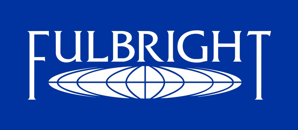 Fulbright logo white blue bkgd