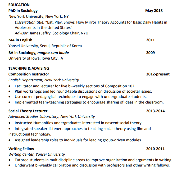 resume sections example