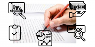 editing icons on top of a picture of a hand writing