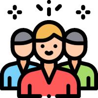 three people cartoon
