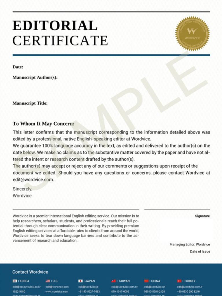 Editing Certificate Sample