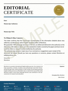 Editing Certificate Sample