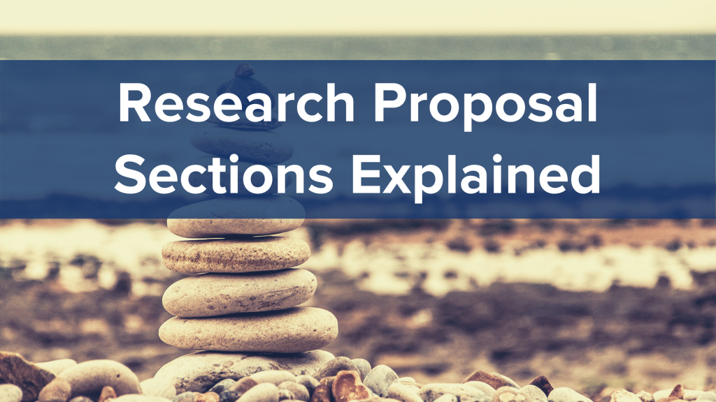 stack of rocks on the beach in background, research proposal sections explained in the banner