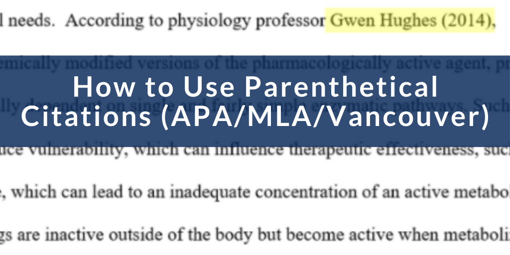 how to use parenthetical citations, blue banner thumbnail