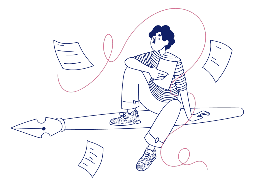sketch of a cartoon boy sitting on a pen with papers flying around him