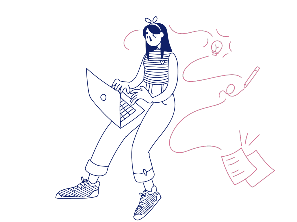 sketch of a cartoon girl typing on a laptop