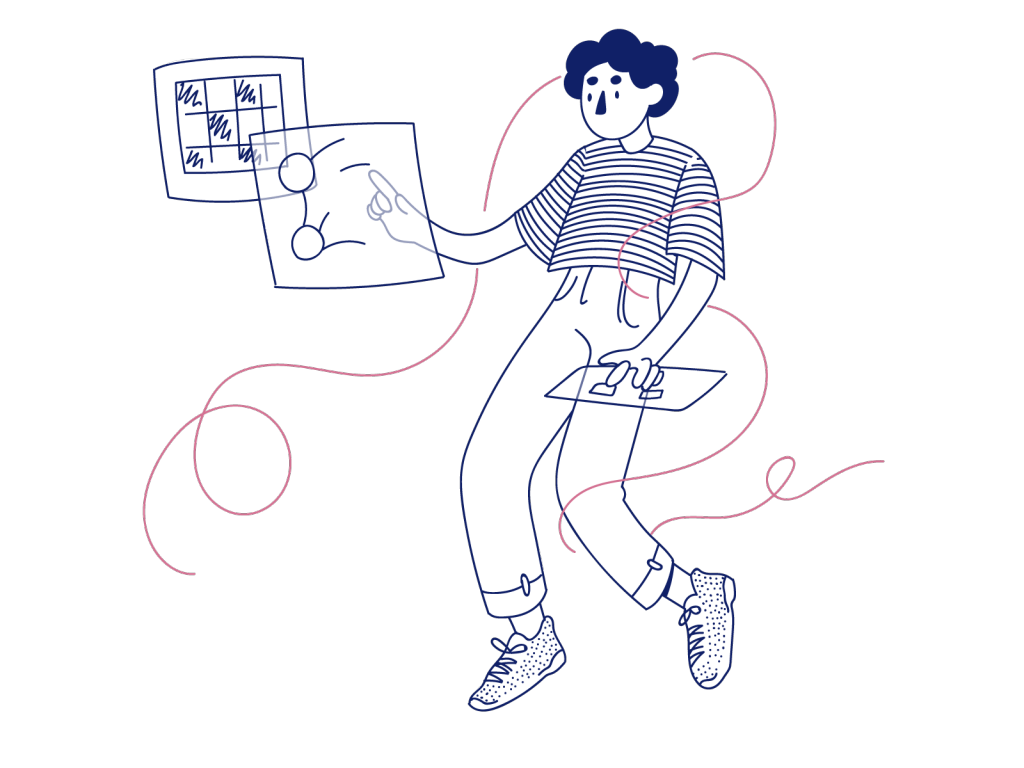 cartoon guy with striped shirt tapping on floating sheets