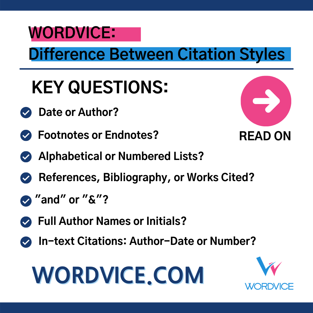 List of difference between citation styles