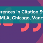 Differences in Citation styles, thumbnail, neon background with quotation marks