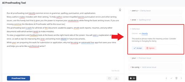 Wordvice AI Proofreader features